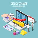 Stock Exchange Isometric Composition royalty free illustration