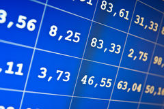 Stock exchange on-line. Financial data- stock exchange - computer screen Royalty Free Stock Image