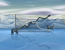 Stock exchange market abstract concept with graph, bull and bear, finances end economy idea. Royalty Free Stock Photos