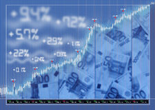 Stock exchange market background. With diagram and money Royalty Free Stock Photo