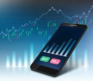 Stock exchange market data on the smartphone screen. Graph and c stock photos