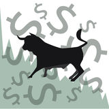 Stock exchange market, foreign exchange financial markets abstract concept with bull and graph. Stock Photos