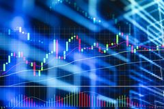 Stock exchange market or forex trading graph analysis investment indicator / Business graph charts of financial board technology. Stock exchange market or forex royalty free stock photography