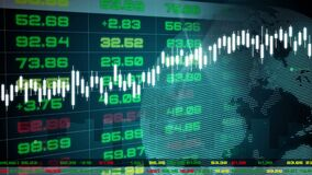 Stock exchange market tickers dashboard with graphs and charts