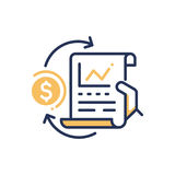 Stock Exchange - modern vector line design icon. Stock Exchange - modern vector single line design icon. An image depicting a hand holding sheet of paper with Stock Images