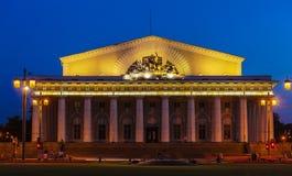 Stock Exchange in  Saint Petersburg at night Royalty Free Stock Image