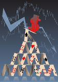Stock exchange. Symbol of money falls from the house of cards Royalty Free Stock Images