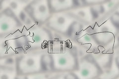 Stock exchange symbols bull and bear facing each other with bag. Of cash in between them over unfocused money background Royalty Free Stock Photography