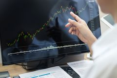 Stock exchange trader Analyzing Graphs chart or data On Multiple Screens in office. Stock exchange trader Analyse Graphs chart or data On Multiple Screens in royalty free stock image