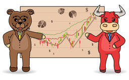 Stock exchange trading. The bulls and bears stock market concept illustration. Stock exchange trading. The bull and bear stock market concept illustration Stock Photography