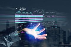 Stock exchange trading data information displayed on a futuristi Royalty Free Stock Photography