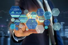 Stock exchange trading data information displayed on a futuristi Stock Photography