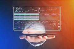 Stock exchange trading data information displayed on a futuristi Royalty Free Stock Image