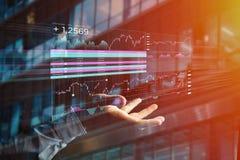 Stock exchange trading data information displayed on a futuristi Stock Photos