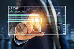 Stock exchange trading data information displayed on a futuristi Stock Image