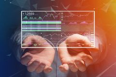Stock exchange trading data information displayed on a futuristi Royalty Free Stock Images