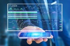 Stock exchange trading data information displayed on a futuristi Royalty Free Stock Photo
