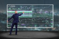 Stock exchange trading data information displayed on a futuristic interface. View of a Stock exchange trading data information displayed on a futuristic stock illustration