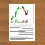 Stock exchange daily trading schedule. Chart market document trading with chart price finance, vector illustration Stock Photography