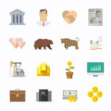 Stock exchange trading set of icons Stock Image