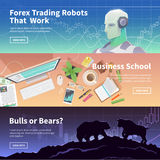 Stock exchange trading set of web banners Stock Photos