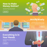 Stock exchange trading set of web banners Royalty Free Stock Image