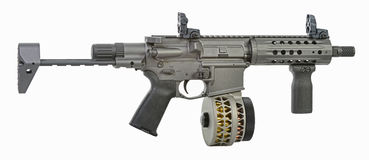 Stock extended SBR AR15 with drum Royalty Free Stock Images