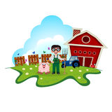 Stock Farmer with pig on farm for your design Royalty Free Stock Image