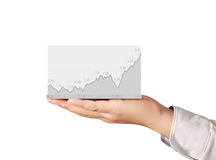 Stock financial graph in hand Royalty Free Stock Image