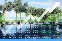 Stock financial index of successful investment on travel business and hotel industry. royalty free stock photo