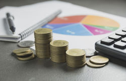 Stock financial indices with stack coin. Financial stock market stock photography