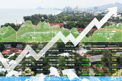 Stock financial investment index successful growth shown by graph and chart in resort hotel background. Stock financial investment index successful growth shown stock images