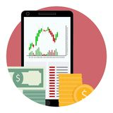 Stock financial market icon. Vector graph trade, money exchange forex illustration Stock Images