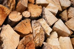 Dry firewood stacked in a pile in the Lithuanian village. stock photo