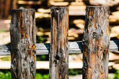 Stock of firewood for the winter. Siberian Village. Wooden fence with firewood stock photography