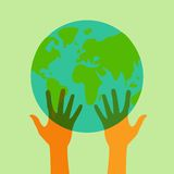Stock flat icon globe and hands eps Royalty Free Stock Photography