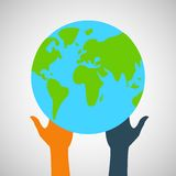 Stock flat icon globe and hands eps Royalty Free Stock Images