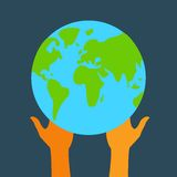 Stock flat icon globe and hands eps Stock Photography