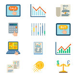 Stock flat icons. Exchange signs and finance strategy symbols. Stock finance flat icons. Stock exchange signs and finance strategy symbols. Vector illustration Stock Images