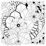 Stock  floral black and white doodle pattern. Royalty Free Stock Photos