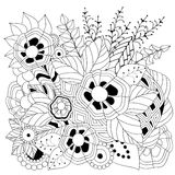 Stock  floral black and white doodle pattern. Royalty Free Stock Photo