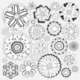 Stock  floral black and white doodle pattern.isolated flow Royalty Free Stock Photos