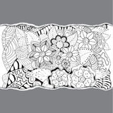 Stock  floral black and white doodle pattern with torn pap Stock Photos