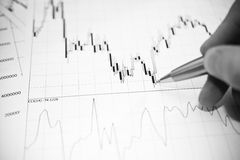 Stock fluctuations. Еxchange fluctuations in forex today with hand Stock Images