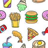 Stock of food various style doodles Royalty Free Stock Photography