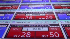 Forex stock market quotes ticker board close up- new quality financial business data screen dynamic technology motion. Stock forex market quotes ticker board stock video