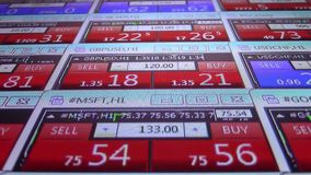 Forex stock market quotes ticker board close up- new quality financial business data screen dynamic technology motion. Stock forex market quotes ticker board stock footage