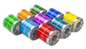 Stock of galvanized steel sheet with polymer coating in coils, 3 royalty free illustration