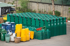 Stock of garbage bins stock image