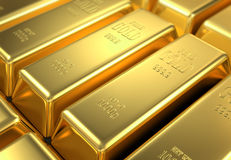 Stock of gold. In the bank, 3d image Stock Photos